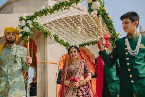 Entry of bride with foolon ki Chadar