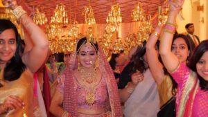 Gang of girls bride entry
