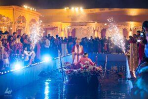 Wedding bride groom entry with boat ride